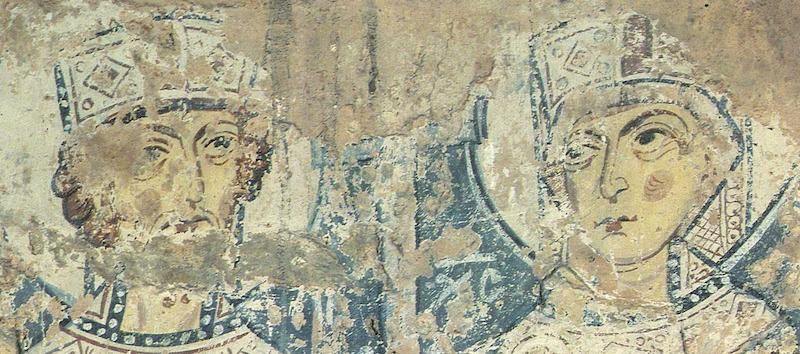 2. Константин и Елена. Лики. Живопись по сухой штукатурке. Мартирьевская паперть, собор св. Софии, Новгород, XI век