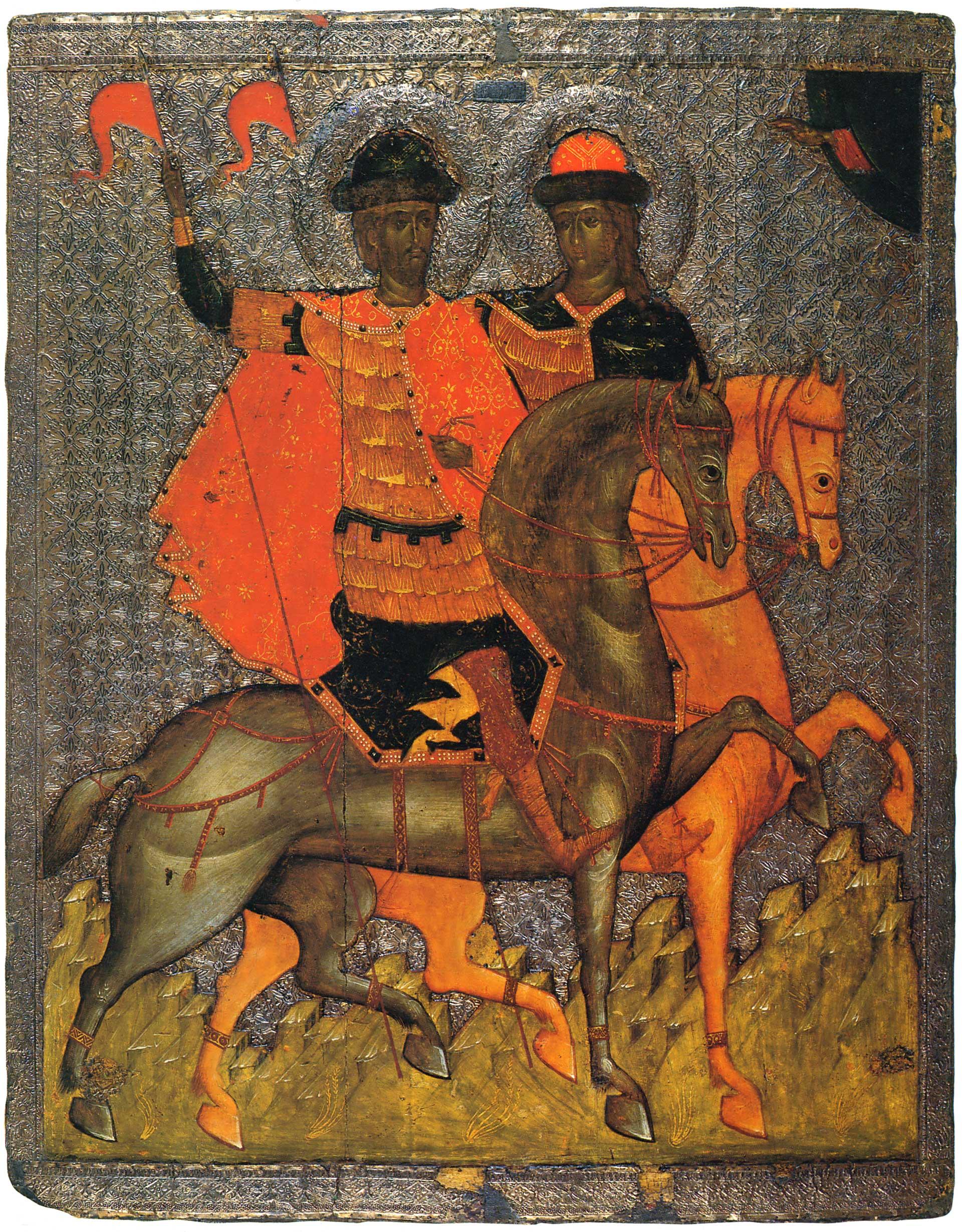 1. свв. Борис и Глеб на конях. 1377г. Великий Новгород.