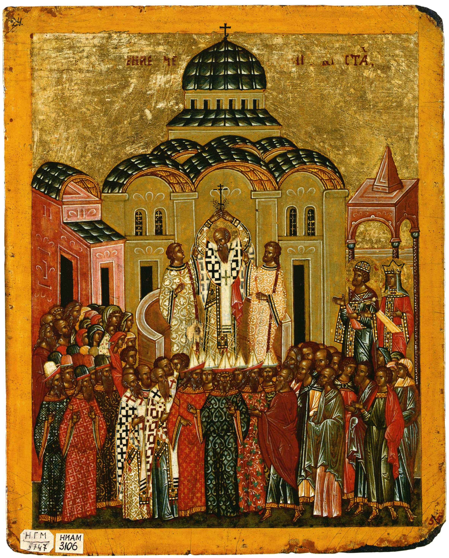 Воздвижение-Креста.-Двусторонняя-выносная-икона.-XVI-век.-Новгород